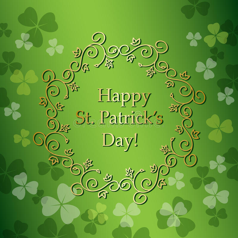Green background for st patrick`s day - vector royalty free illustration