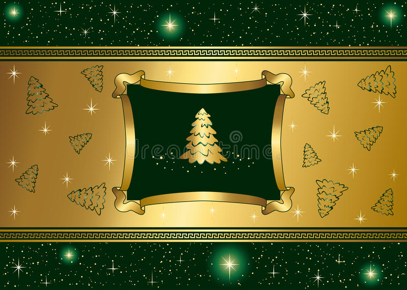 Download Green Background With Stars And Gold Christmas Tre Stock Vector - Illustration: 15680376