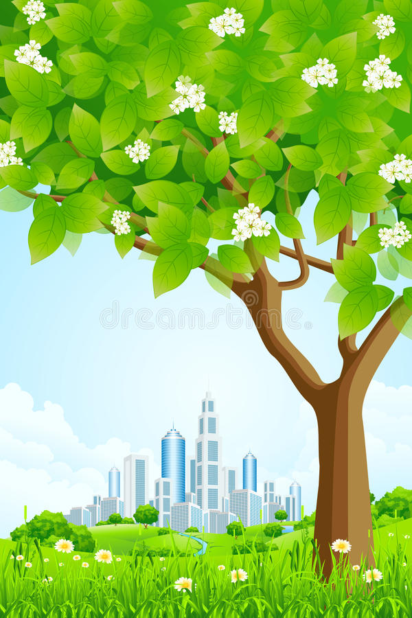 Green Background With Tree And Modern City Royalty Free Stock Photo