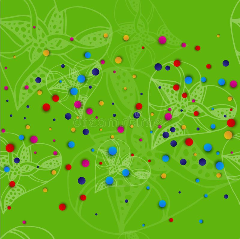 Green background with white hearts in the style of sketching and bright colored dots. Vector illustration stock illustration