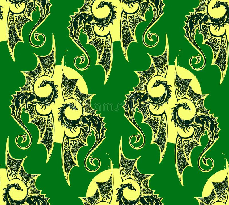 Green background with winged dragons warm circle stock illustration