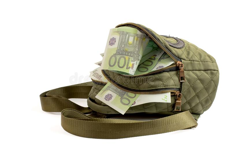 Green backpack with Euro banknotes isolated on white stock photos