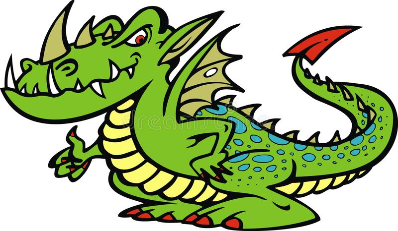Green bad dragon. Isolated on the white background royalty free illustration