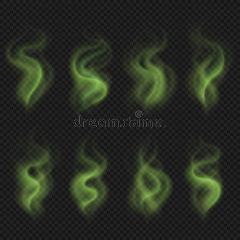 Green bad smell steam, toxic stink smoke, dirty man odor stench vector set royalty free illustration