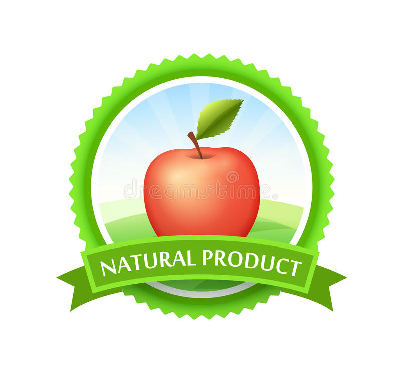 Green Badge with Red Apple vector illustration