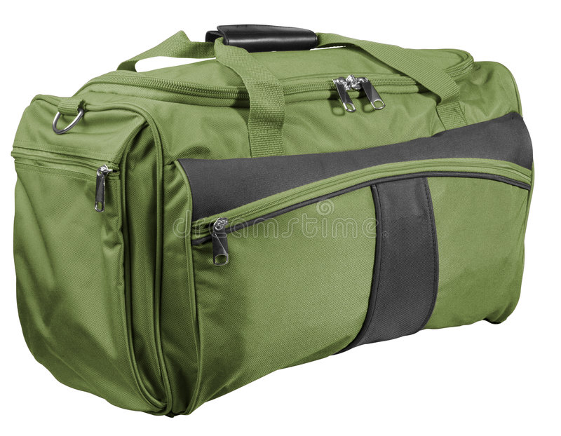 Green bag. Green travel bag isolated with clipping path stock photos