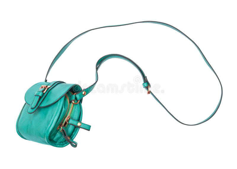 Green bag in the air. On a white background stock images