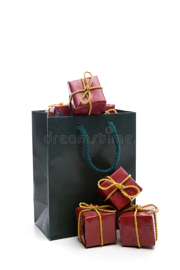 Download Green Bag With Small Christmas Present Box Stock Photo - Image: 7485106