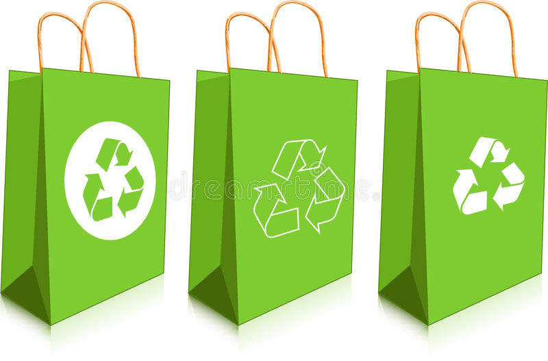 Green bags vector illustration