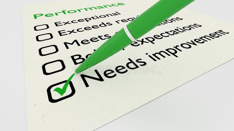 Green ball pen crossing off needs improvement on performance che. Green ball pen crossing off needs improvement on a performance evaluation checklist on white stock illustration