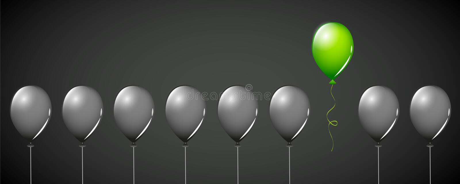Green balloon fly away from black balloons on black background different concept design stock illustration