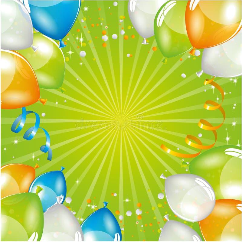 Green balloons background stock illustration