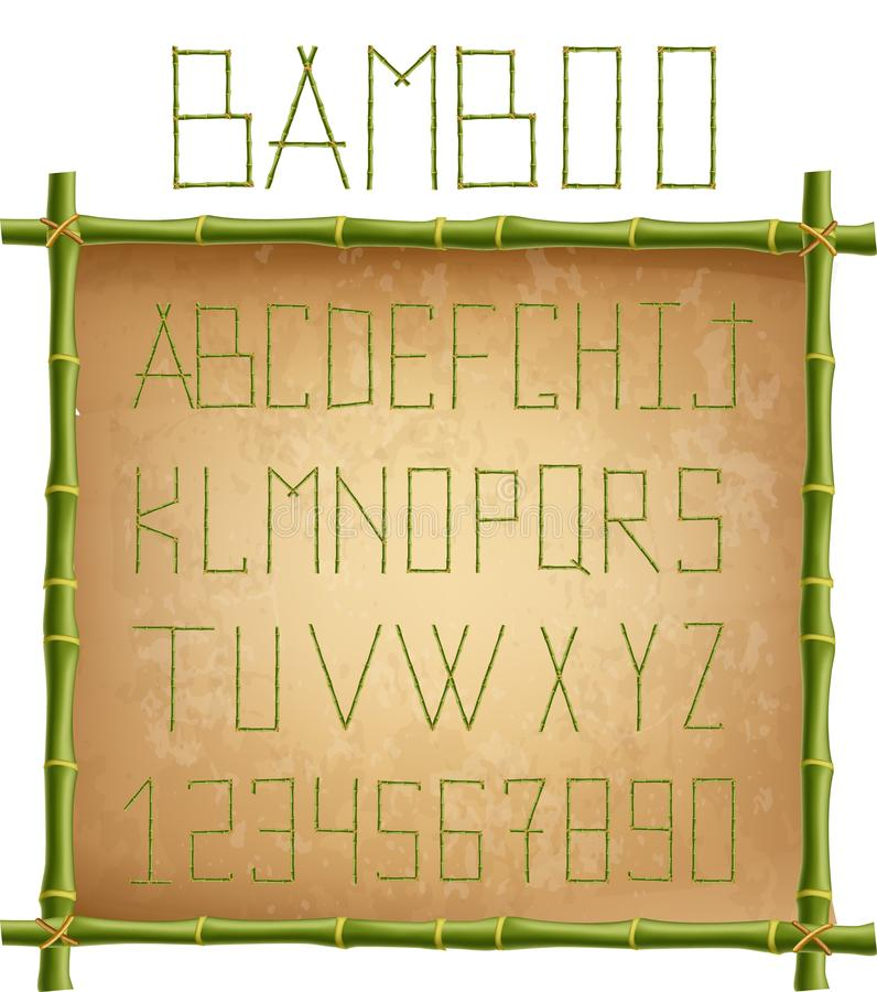 Green bamboo alphabet inside of wooden stick frame on old paper background vector illustration