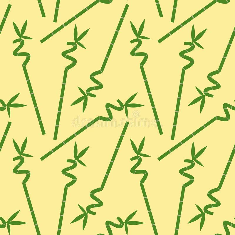 Green bamboo branch with leaves on a yellow background seamless pattern asia tropical zen vector royalty free stock photo