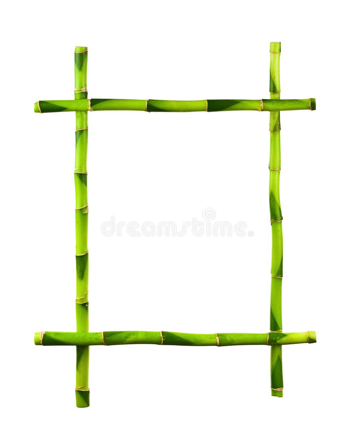 Green bamboo frame isolated on white background. stock image
