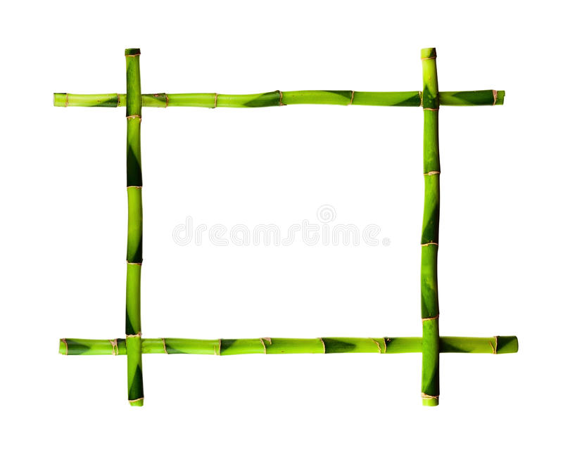 Green bamboo frame isolated on white background. stock photo