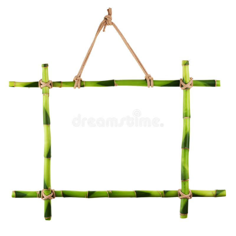 Green bamboo frame isolated on white background. royalty free stock photo