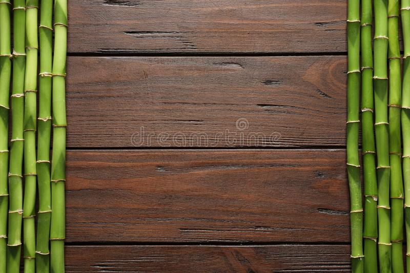 Green bamboo stems and space for text on wooden background. Top view royalty free stock photography