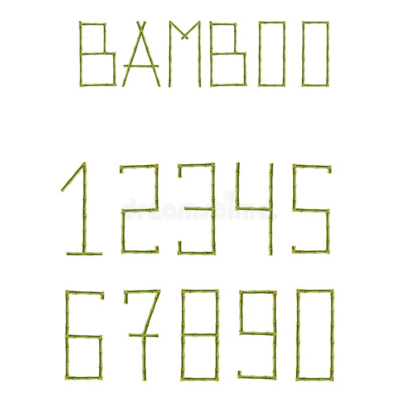Green bamboo sticks numerals isolated on white background stock illustration