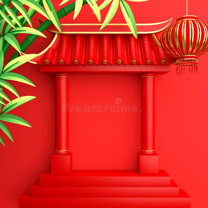 Green bamboo, traditional Chinese gate and lanterns lampion. Design creative concept of chinese festival celebration mid autumn, gong xi fa cai. 3D rendering stock illustration
