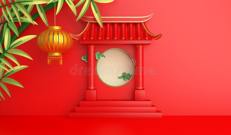Green bamboo, traditional Chinese gate and lanterns lampion, moon paper cut cloud. vector illustration