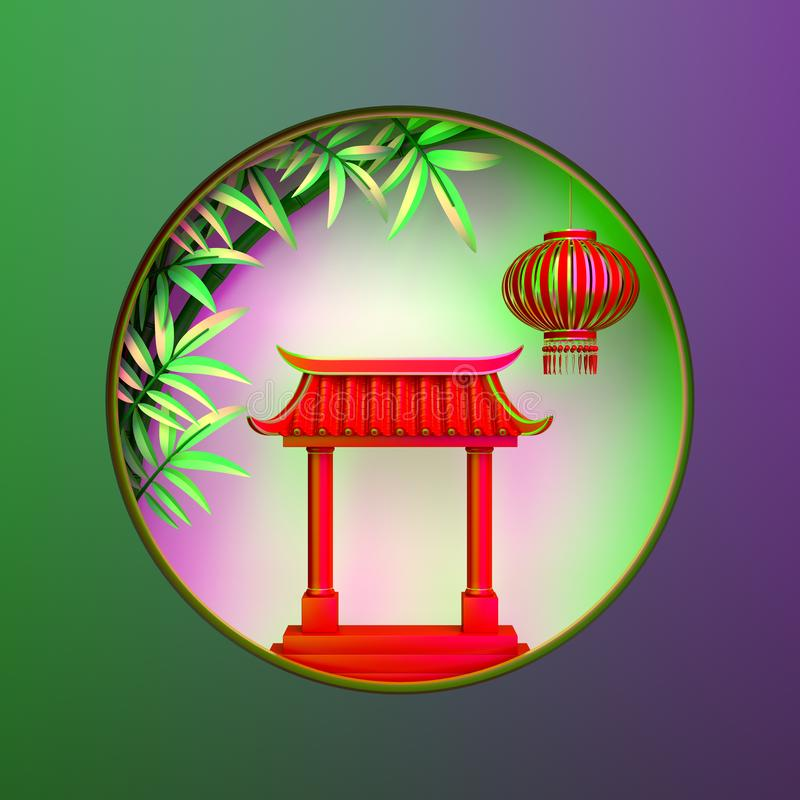 Green bamboo, traditional Chinese gate and lanterns lampion, moon paper cut on green purple gradient. Design concept of chinese festival celebration mid autumn stock illustration