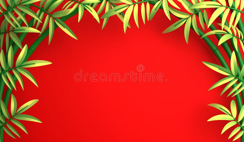 Green bamboo tree and leaf on red background. Mock up backdrop, copy space, flat lay. vector illustration