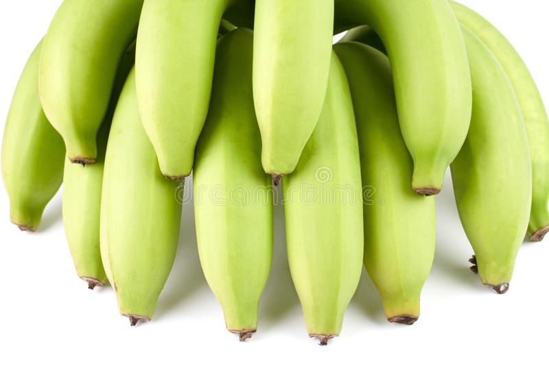 Green Banana Comp. Close up Full Green Banana Comp isolated on white background stock photo