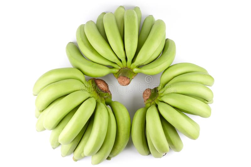 Green Banana Comp. Top view of three Full Green Banana Comp isolated on white background royalty free stock images