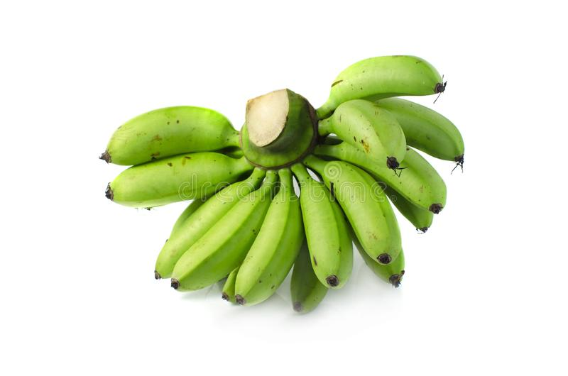Green banana isolate on white background royalty free stock images