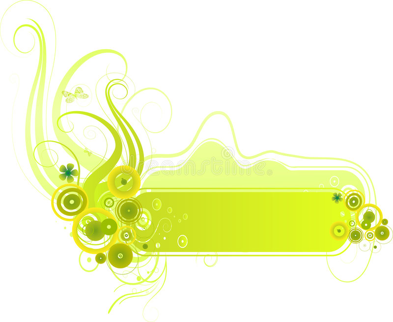 Green baner vector. Green banner with organic elements royalty free illustration