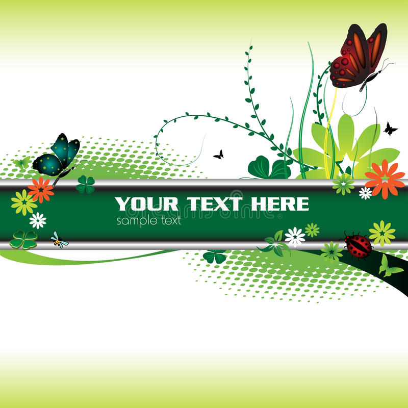 Green Banner And Butterflies Royalty Free Stock Photo