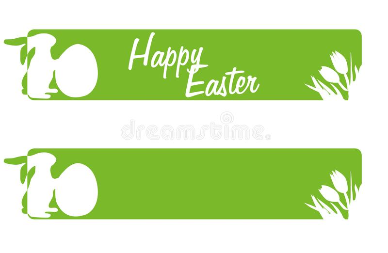 Easter Greetings in green banner Happ Easter royalty free illustration