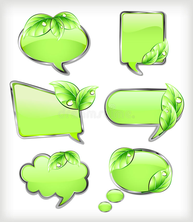 Green banners with leaf. Vector illustration stock photos