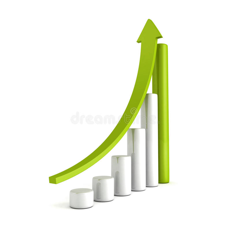 Green Bar Chart Business Growth With Rising Up Arrow royalty free illustration