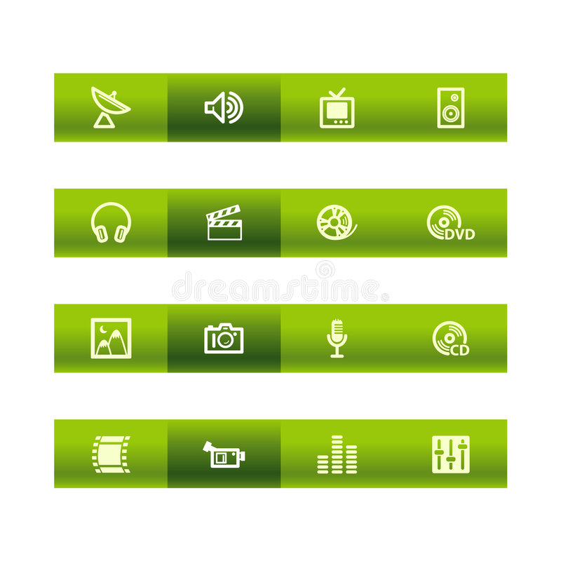 Green bar media icons stock illustration