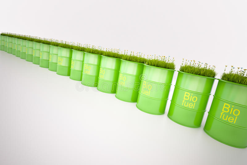 Green barrel of bio fuel stock photography