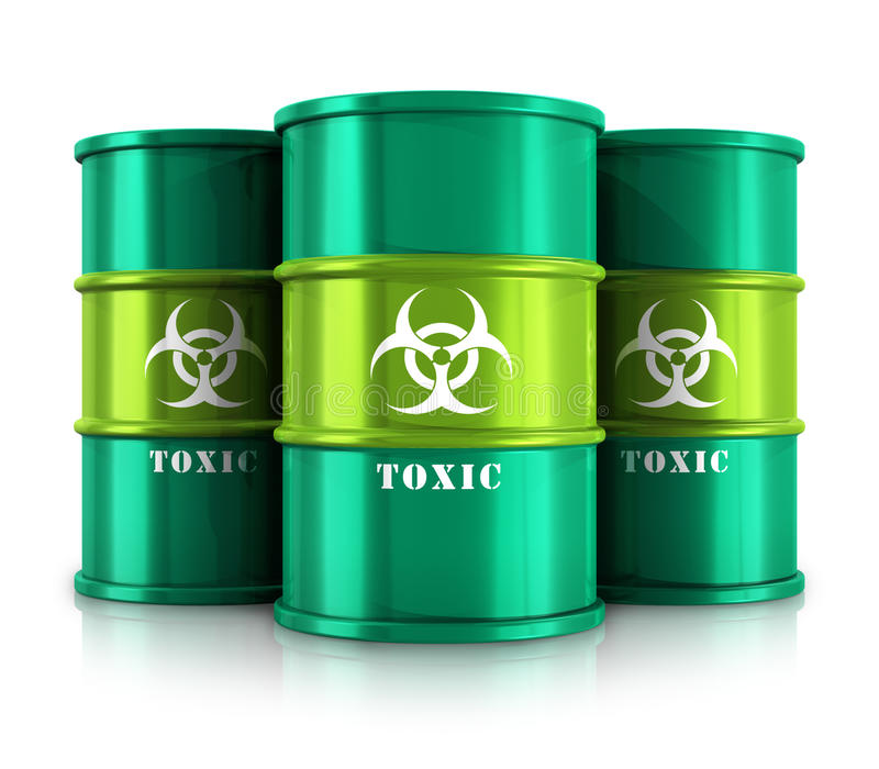 Green barrels with toxic substances. Creative abstract poisonous and dangerous materials disposal and utilization industry concept: group of green metal barrels royalty free illustration