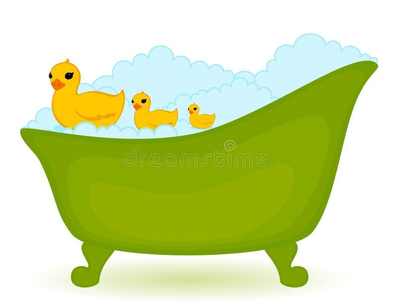 Green bath with ducks vector illustration