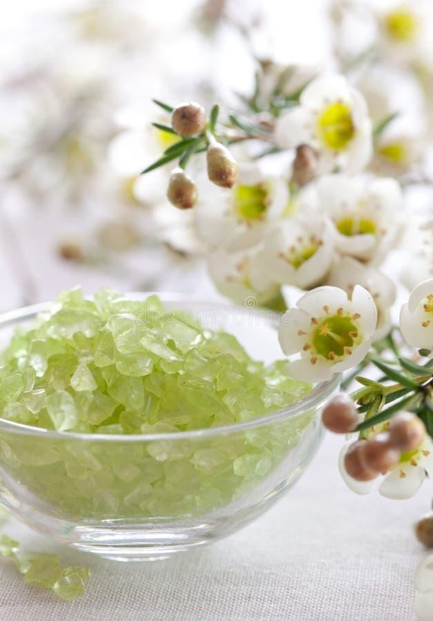 Green bath salt stock photography
