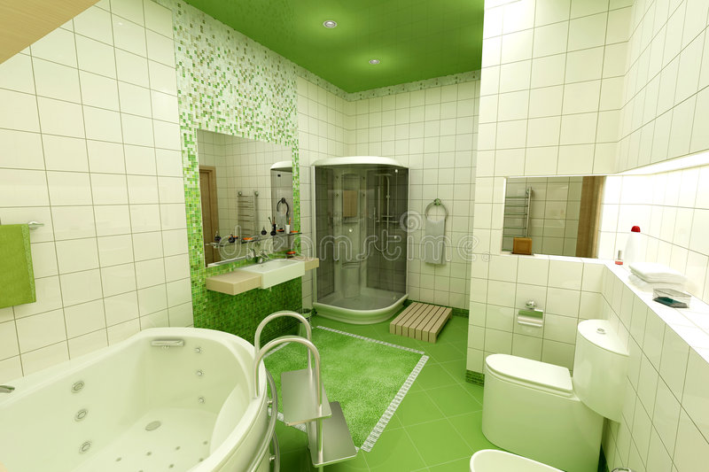 Green bathroom stock images