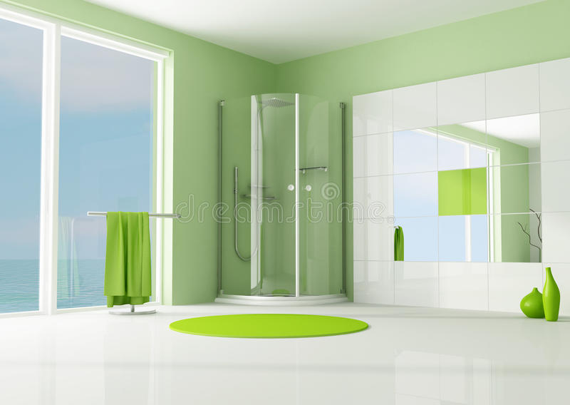 Green bathroom with cabin shower royalty free illustration