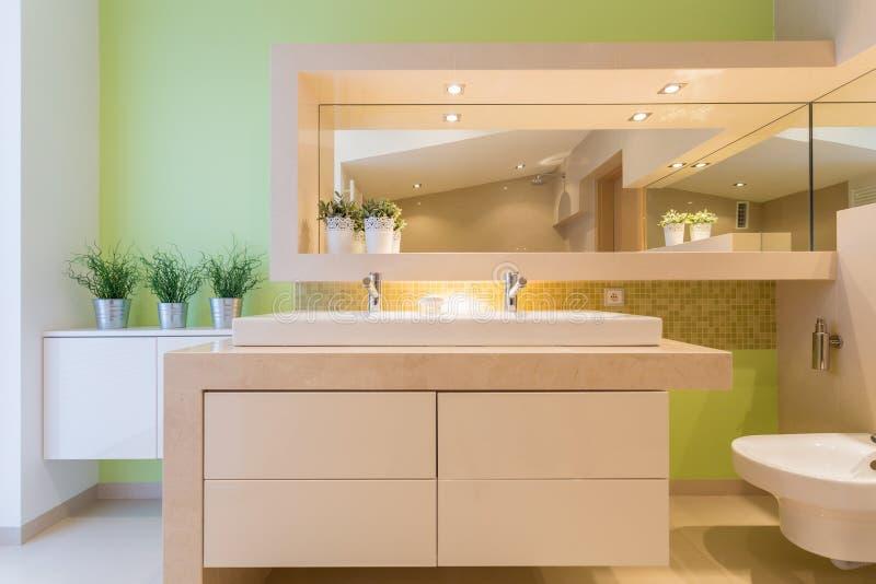 Green bathroom in luxury mansion royalty free stock photos