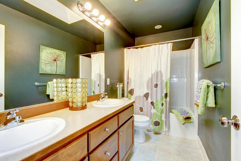 Download Green Bathroom With Wood Cabinet And Shower Tub. Stock Photo - Image: 29215930