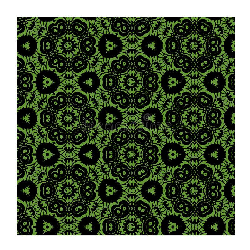 Green Batik seamless vector green and black for fashion textile print. royalty free stock images