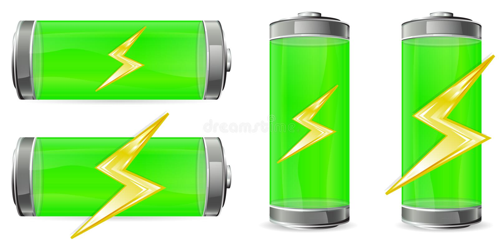 Download Green battery stock vector. Image of flash, cylinder - 19269250