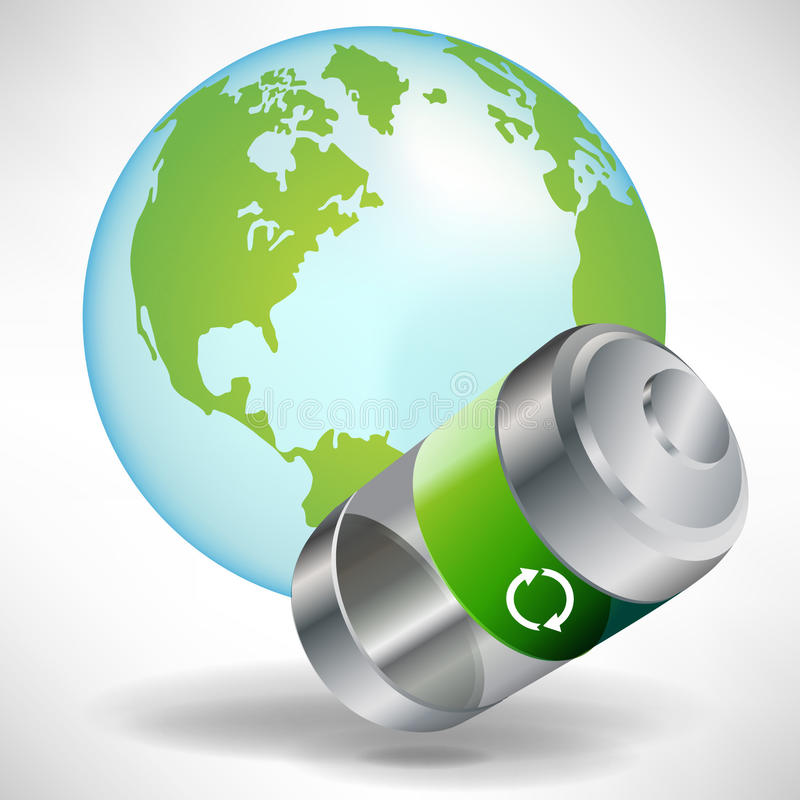 Green battery with earth globe