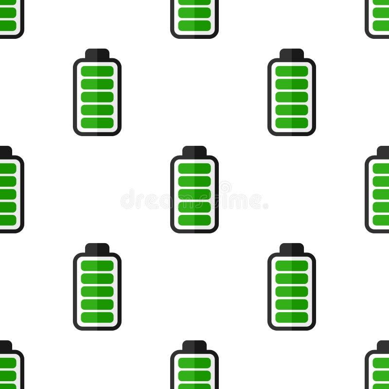 Green Battery Energy Seamless Pattern royalty free illustration