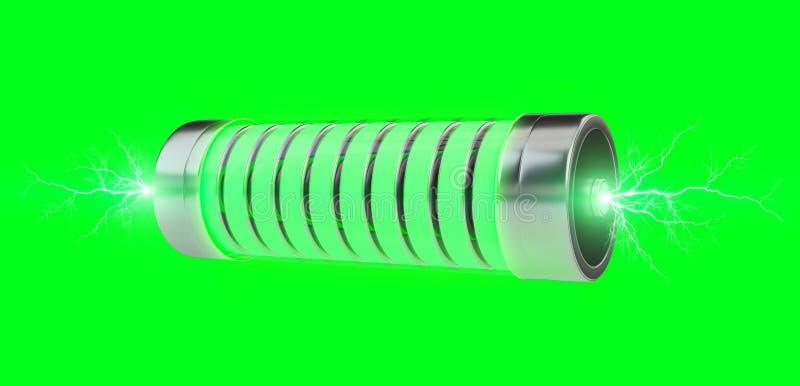 Green battery with lightnings 3D rendering stock illustration