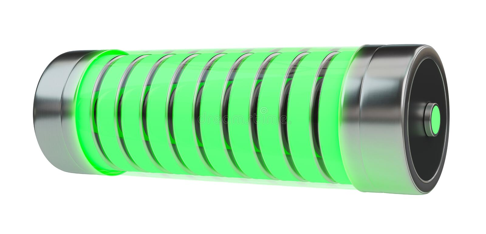 Green battery with lightnings 3D rendering royalty free illustration